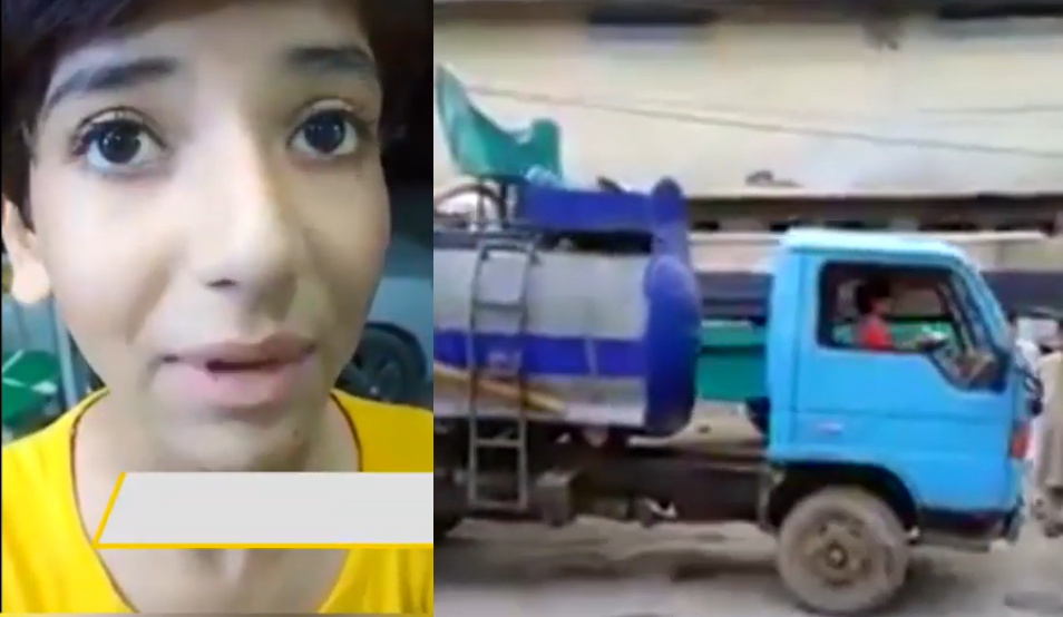 Eight-year-old girl driving a water tanker to support her family financially