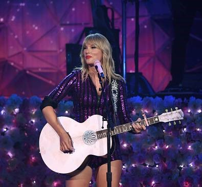 Taylor Swift performing at the Amazon Prime Day Concert