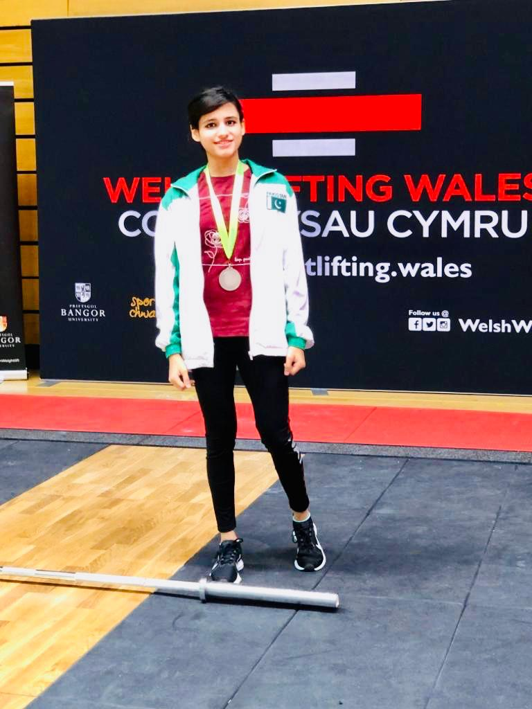 Pakistani female weightlifter grabbed a silver medal at a weightlifting competition