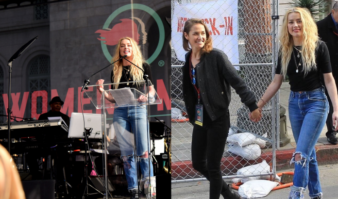 Amber Heard and new ladylove Bianca Butti attended 4th Annual Women's Day March