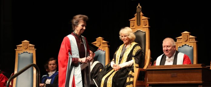 Duchess of Cornwall presented Princess Anne with honorary degree today
