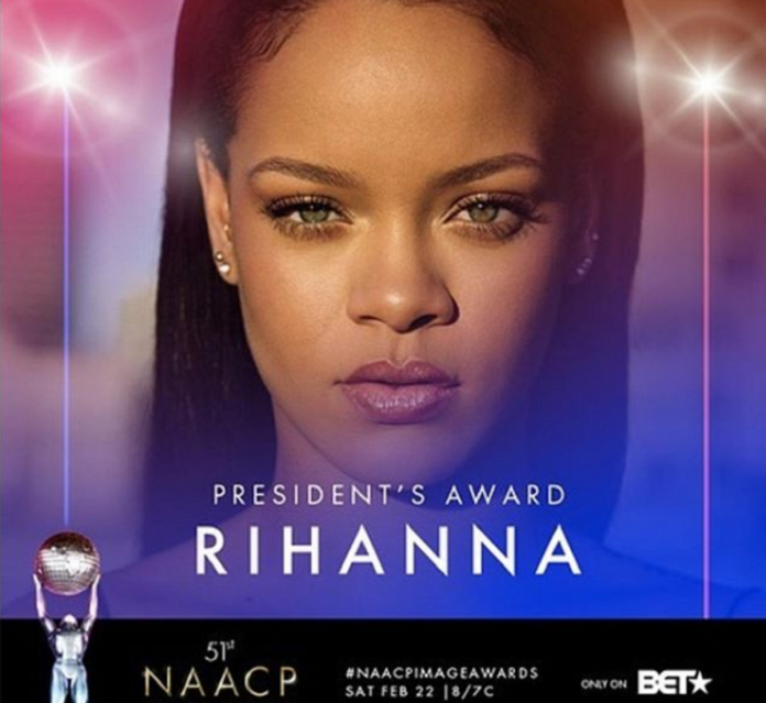Rihanna to be presented with President's award at 51st NAACP Image Awards