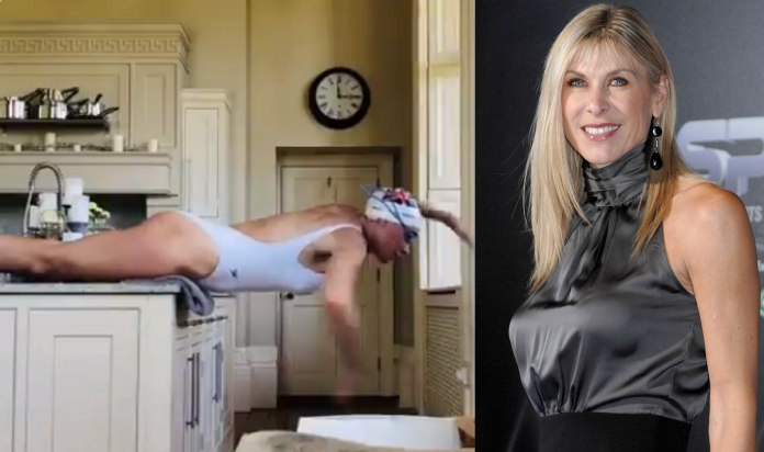 Swimmer Sharron Davies Shares The Video Of Herself 'Swimming' In Her Kitchen
